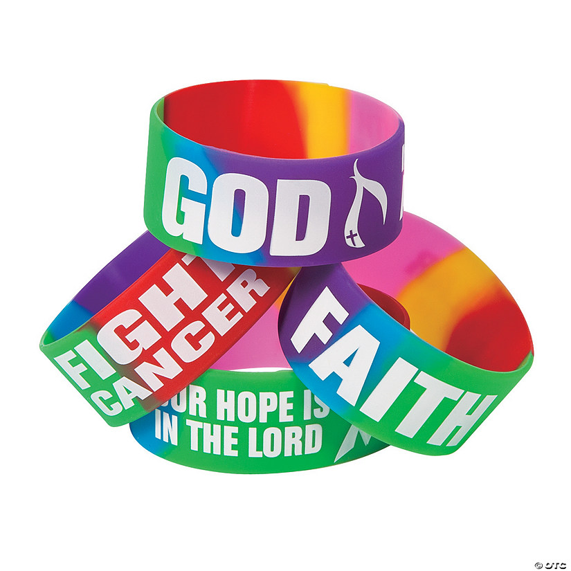 Cancer Awareness Faith Big Band Rubber Bracelets