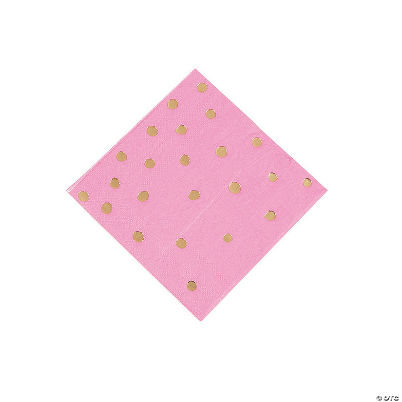 Candy Pink & Gold Foil Polka Dot Beverage Paper Napkins Audio Thumbnail