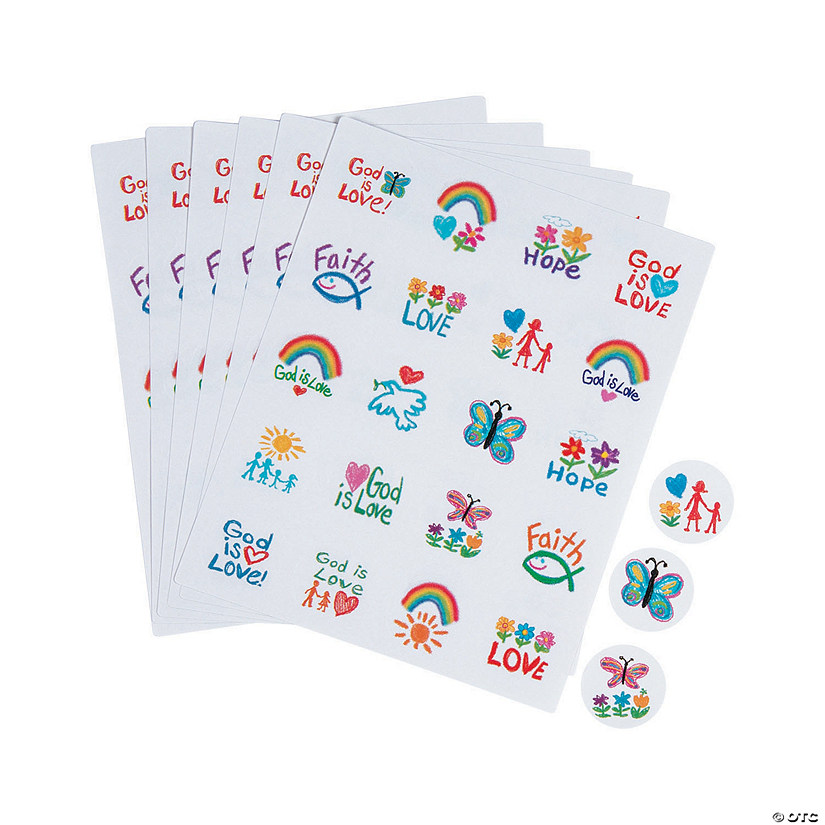 Carson-Dellosa® Kid Drawn Religious Sticker Sheets