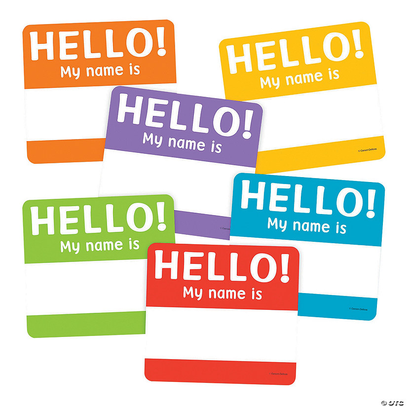 Carson-Dellosa<sup>®</sup> Hello Name Tags Bulletin Board Cutouts