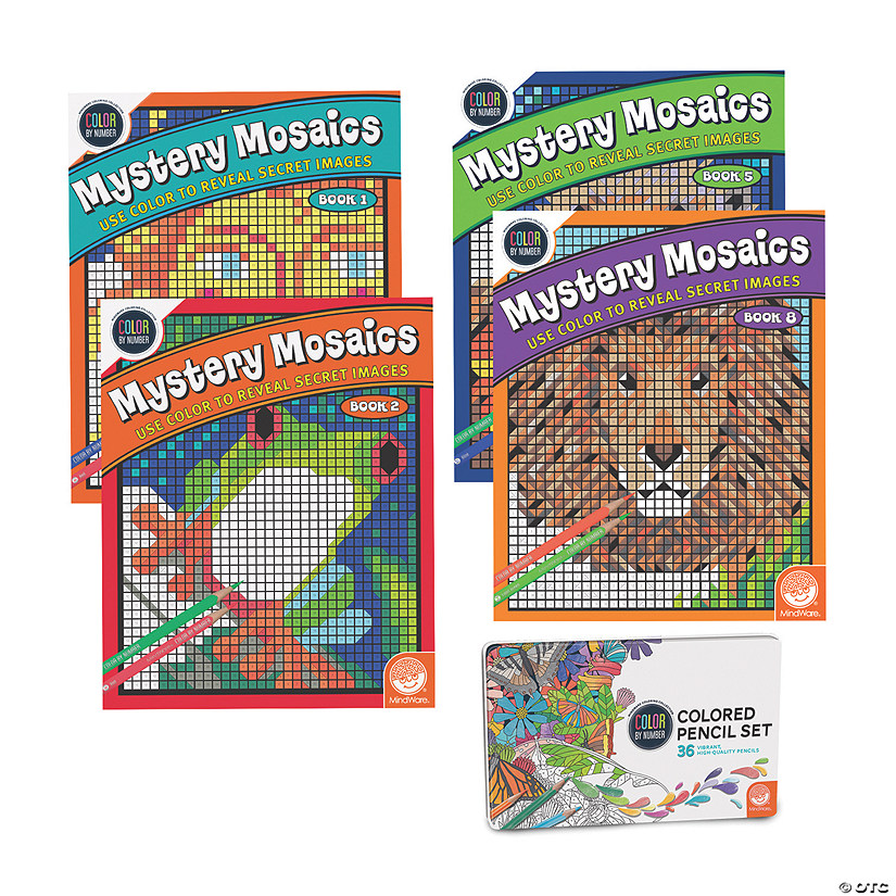 CBN Mystery Mosaics: Best Sellers Set of 4 with 36 Colored Pencils Image Thumbnail