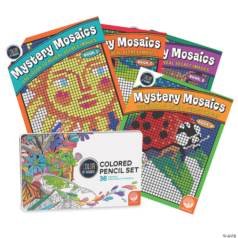 CBN Mystery Mosaics: Books 1 - 4 with 36 Colored Pencils Set Image Thumbnail