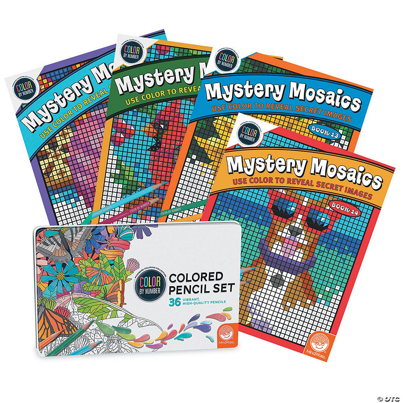 CBN Mystery Mosaics: Books 11 - 14 with 36 Colored Pencils Set