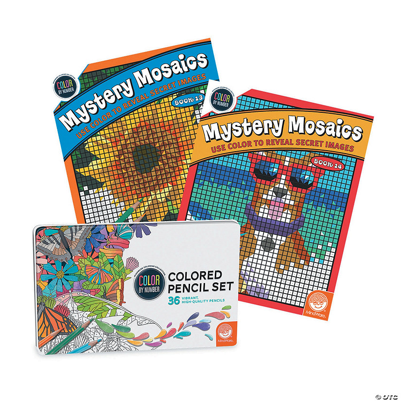 CBN Mystery Mosaics: Books 13 & 14 with 36 Colored Pencils Set Image Thumbnail