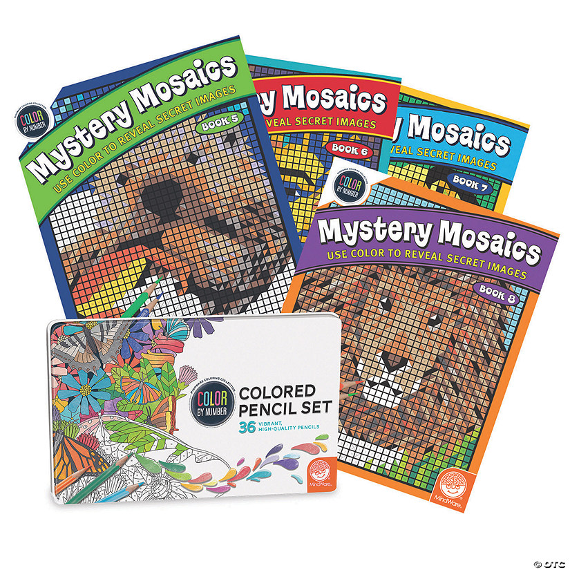 CBN Mystery Mosaics: Books 5 - 8 with 36 Colored Pencils Set Image Thumbnail