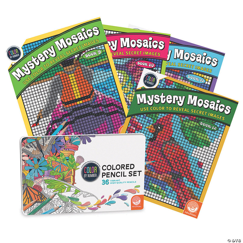 CBN Mystery Mosaics: Books 9 - 12 with 36 Colored Pencils Set