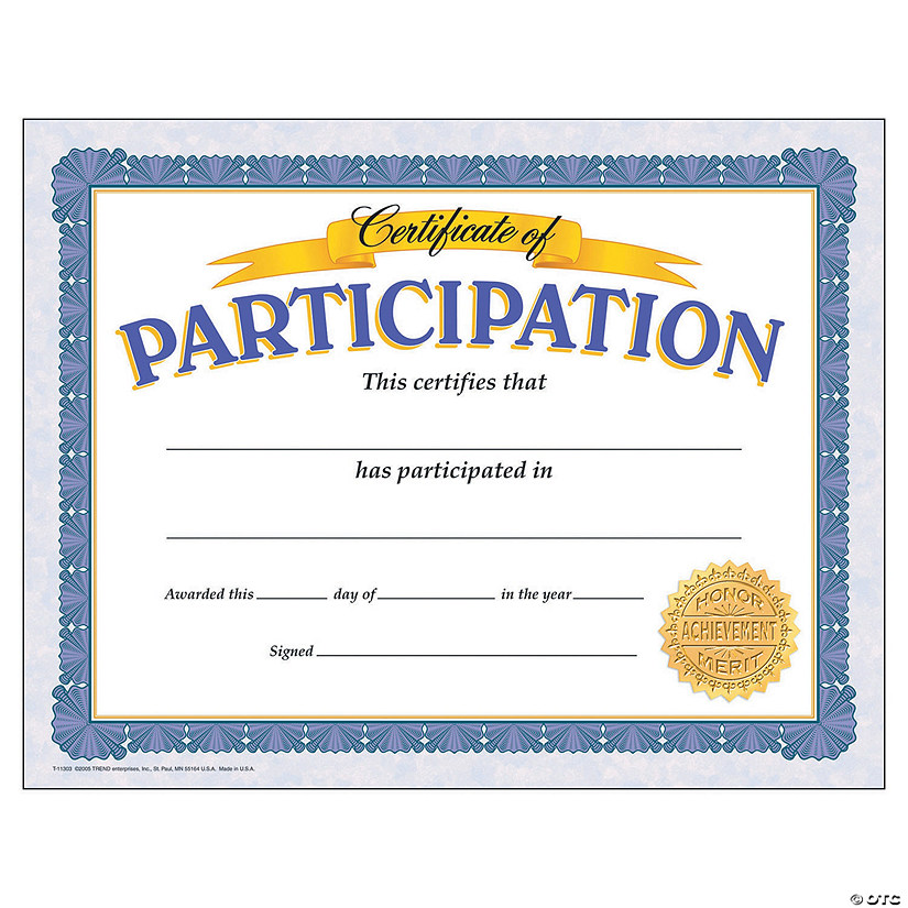 Certificate of Participation - 30 per pack, 6 packs