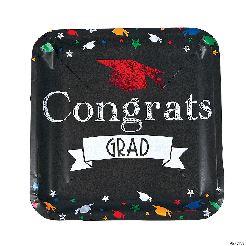 Chalk It Up Grad Square Dinner Plates