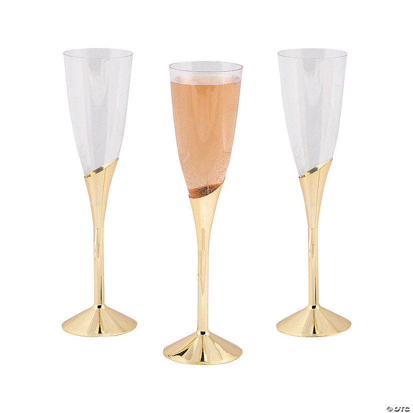 Champagne Flutes with Goldtone Stems