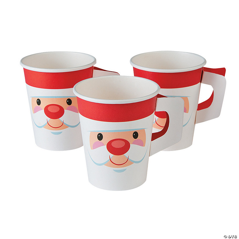 Cheery Santa Christmas Paper Cups with Handle