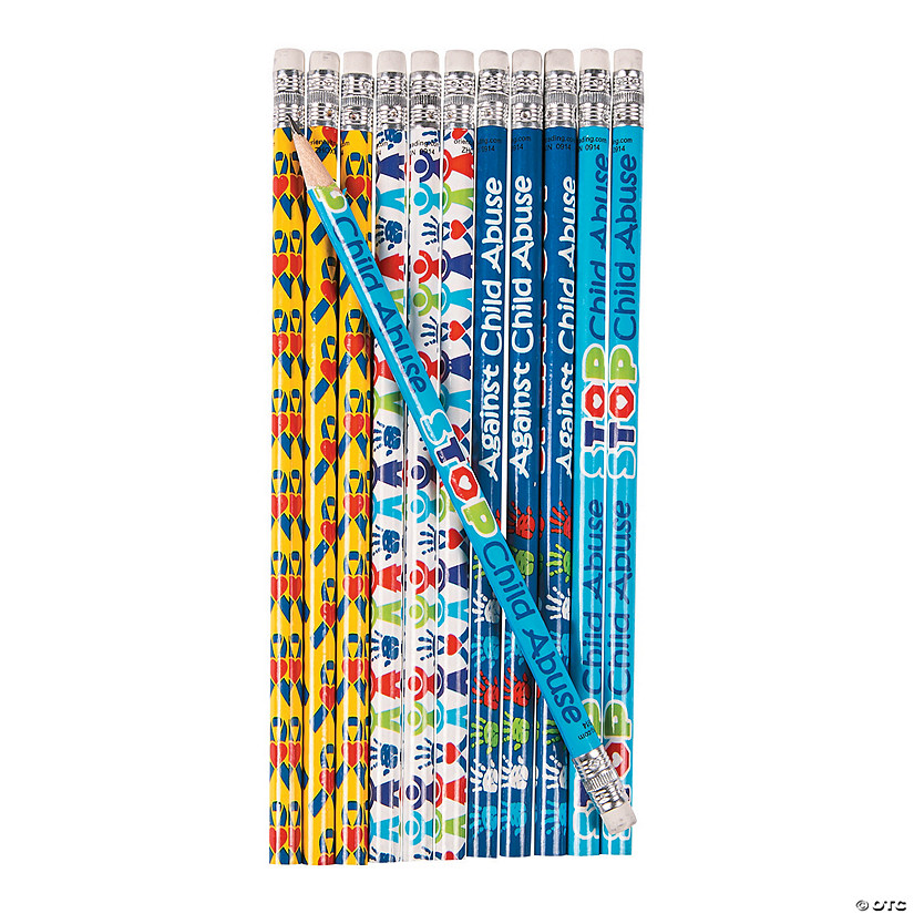Child Abuse Awareness Ribbon Pencils - 24Pc. Image Thumbnail