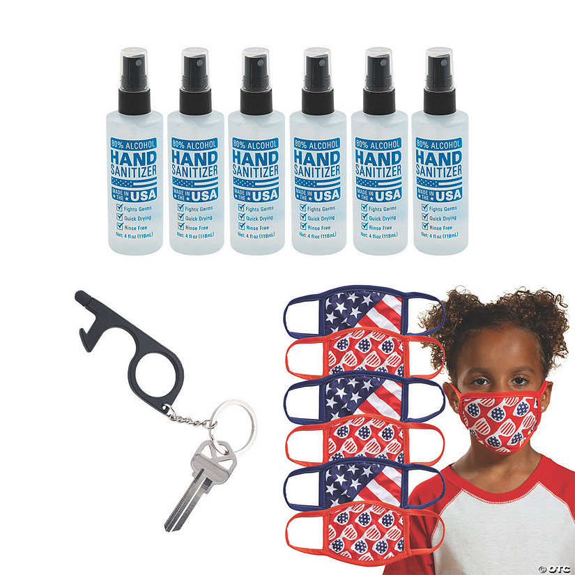 Child's Patriotic Mask & Sanitation Kit for 6 Image Thumbnail