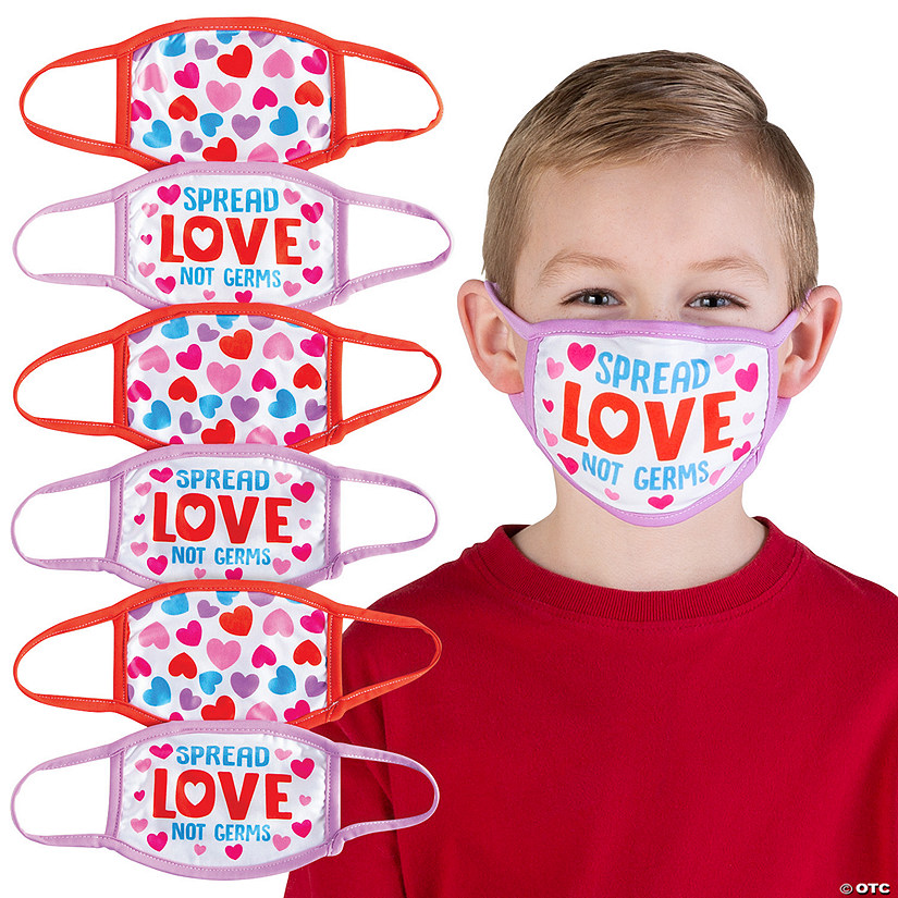 Child's Valentine Hearts Washable Face Masks - 6 Pc. Image Thumbnail