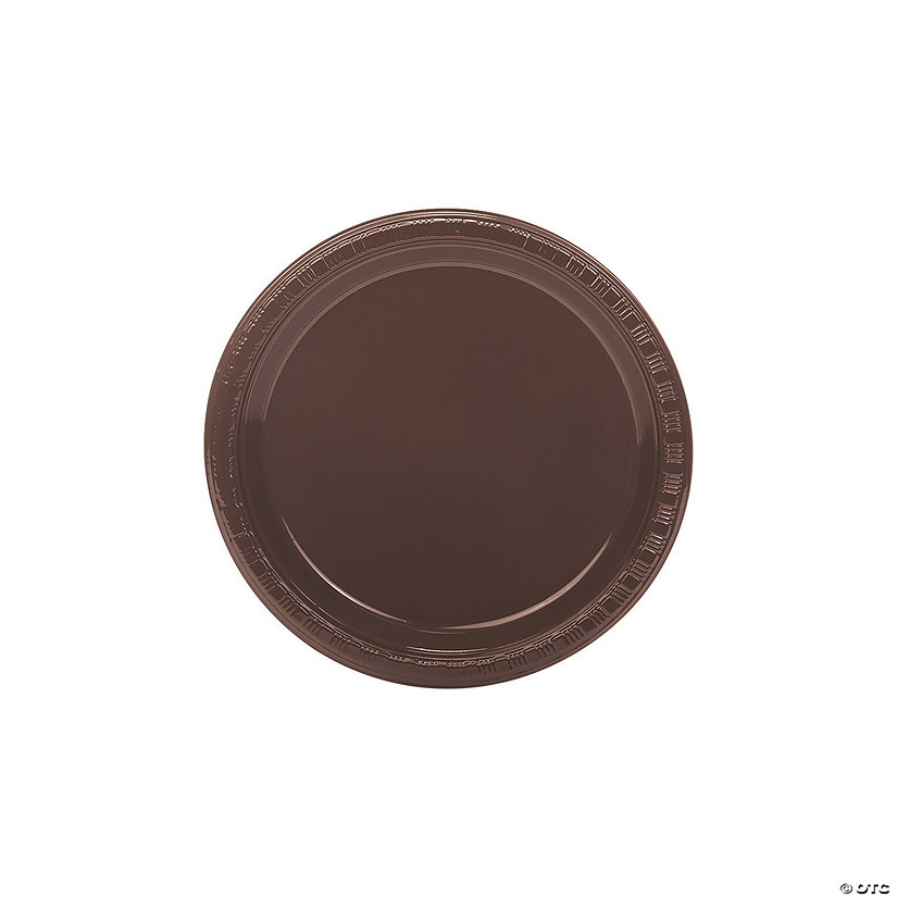 Chocolate Brown Plastic Dessert Plates - 20 Pc.