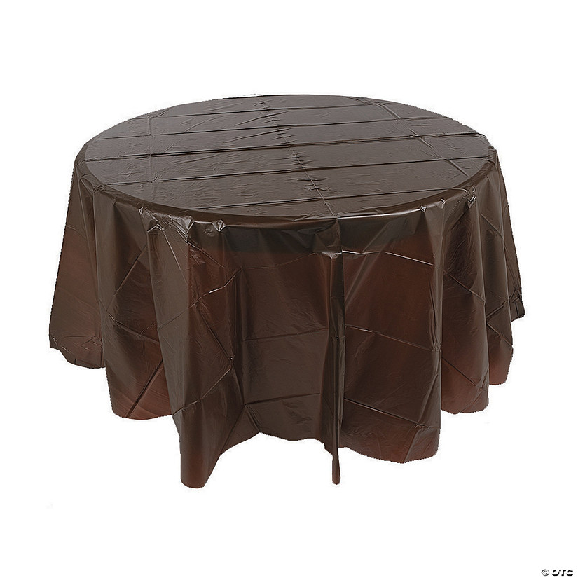 Chocolate Brown Round Plastic Tablecloth Audio Thumbnail