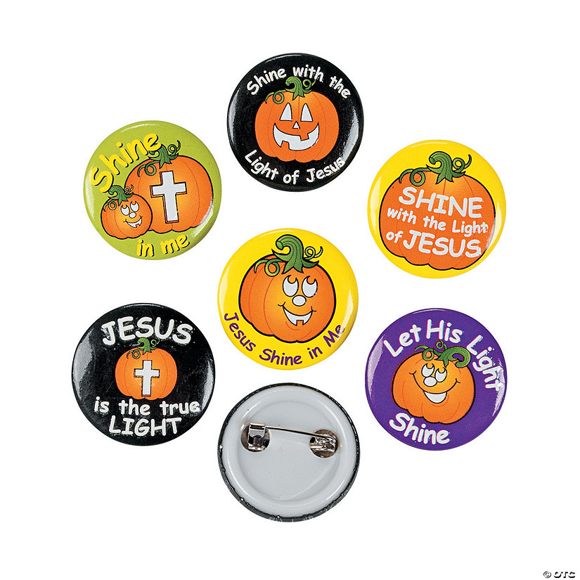 Christian Pumpkin Glow-in-the-Dark Mini Buttons Image Thumbnail