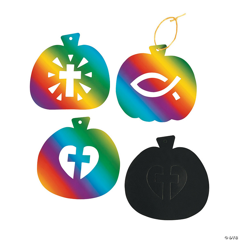 Christian Pumpkin Magic Color Scratch Ornaments with Cutout Image Thumbnail