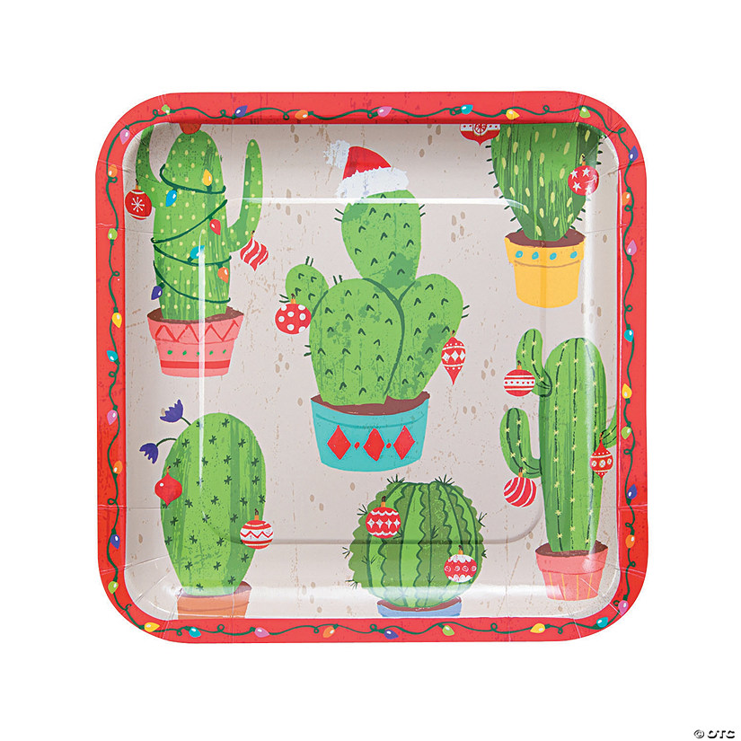 Christmas Cactus Square Paper Dinner Plates Audio Thumbnail