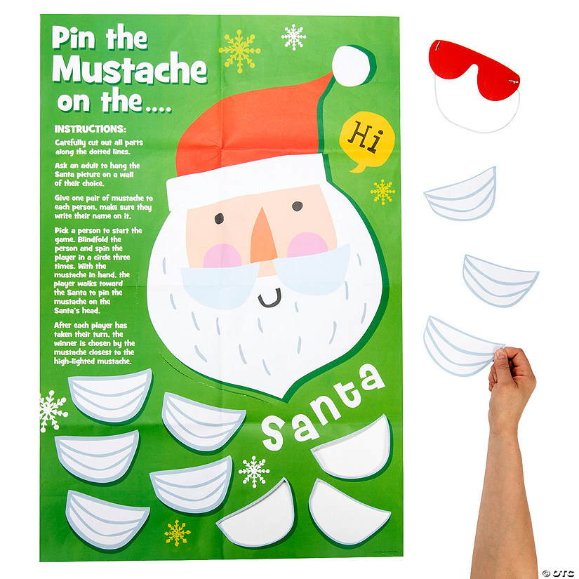 Christmas Crew Pin the Mustache on Santa Party Game Image Thumbnail