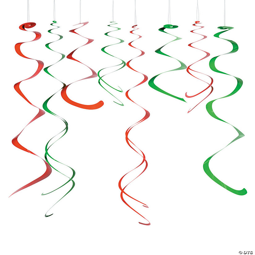 Christmas Hanging Swirl Decorations - 12 Pc. Audio Thumbnail