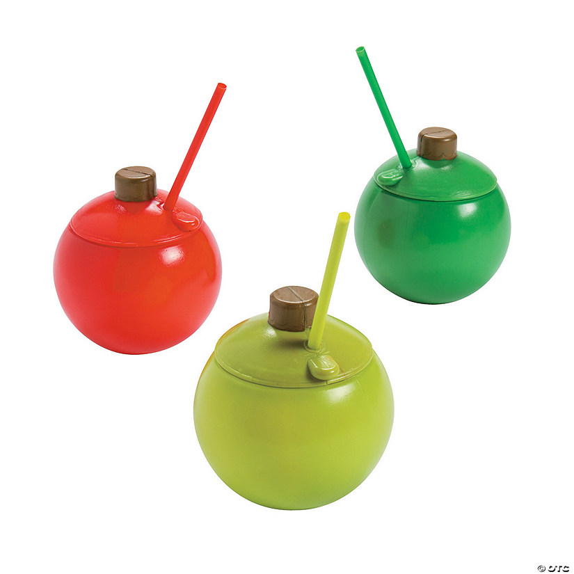 Christmas Ornament Cups with Lids & Straws