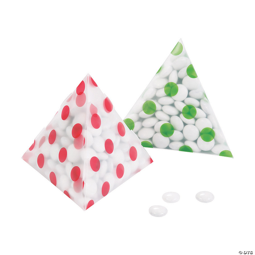 Christmas Polka Dots Pyramid Plastic Treat Boxes