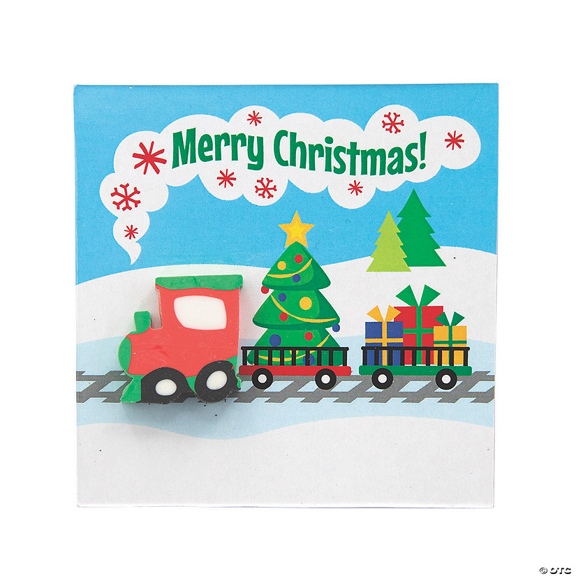 Christmas Train Erasers with Card Image Thumbnail