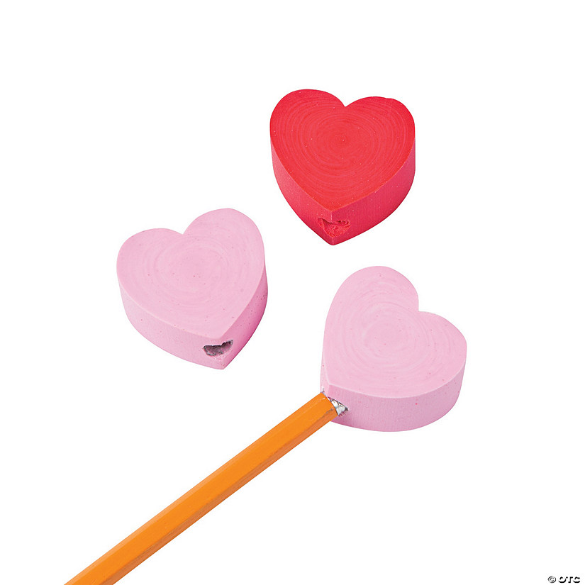 Chunky Heart Pencil Top Erasers - 12 Pc. Audio Thumbnail