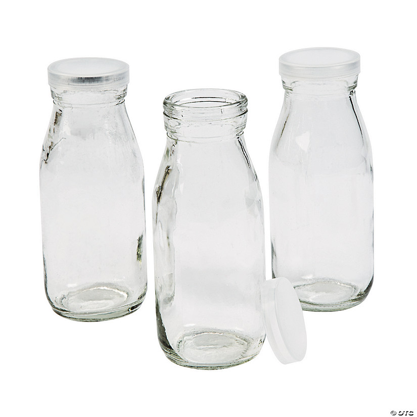Clear Glass Milk Bottles with Lid Image Thumbnail