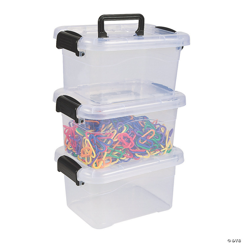 Clear Medium Locking Storage Bins with Lids Image Thumbnail