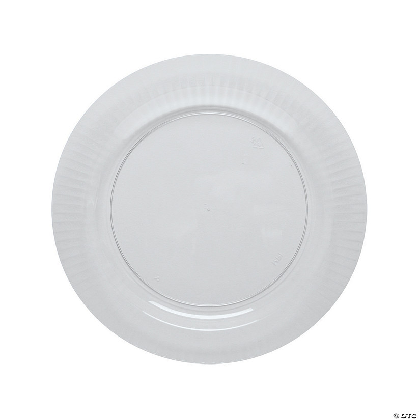Clear Ribbed Edge Premium Plastic Dinner Plates