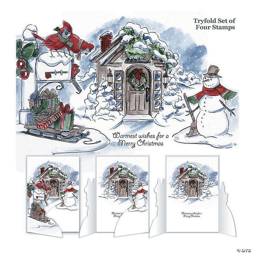 Cling Rubber Stamps -Christmas Scene