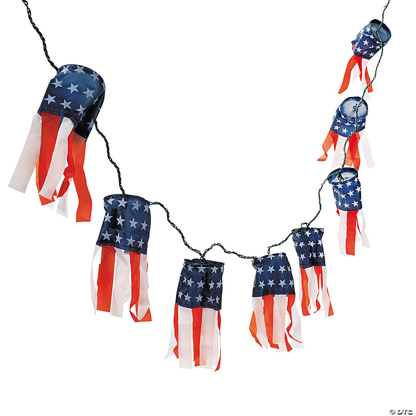Cloth Patriotic Lighted Windsock String Lights