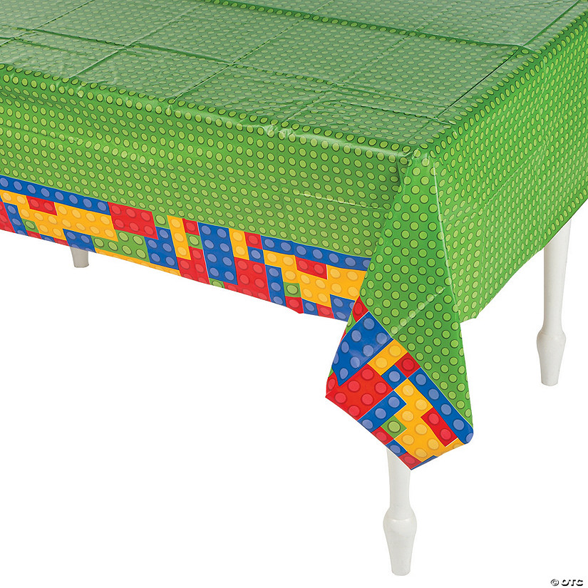 Color Brick Party Plastic Tablecloth