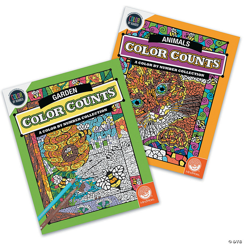 Color by Number Color Counts: Garden and Animals Set of 2