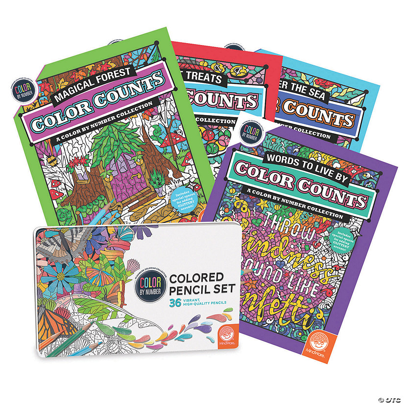 Color by Number Color Counts Glitter: Set of 4 with 36 Pencils Image Thumbnail