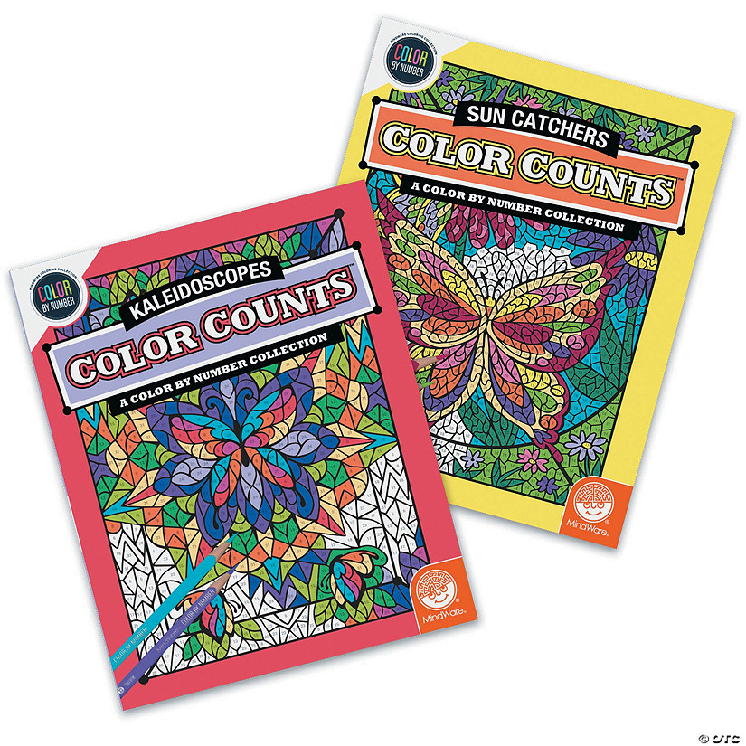 Color by Number Color Counts: Kaleidoscopes and Sun Catchers Set of 2