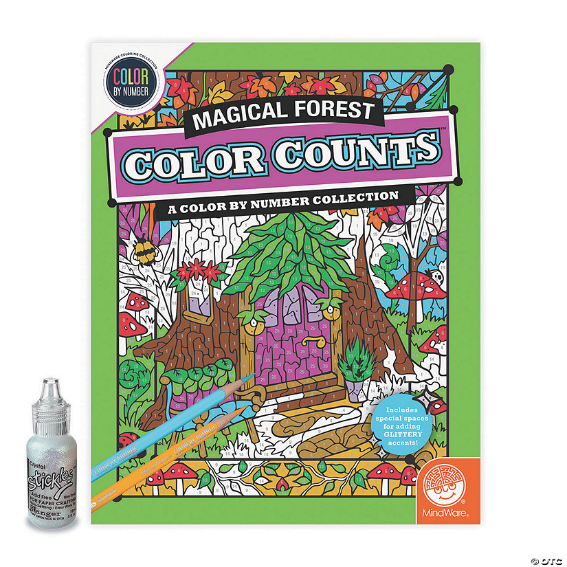 Color by Number Color Counts: Magical Forest with Glitter Image Thumbnail