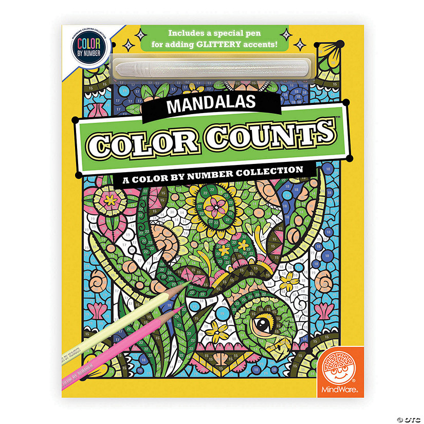 Color by Number Color Counts: Mandala with Glitter Pen Image Thumbnail