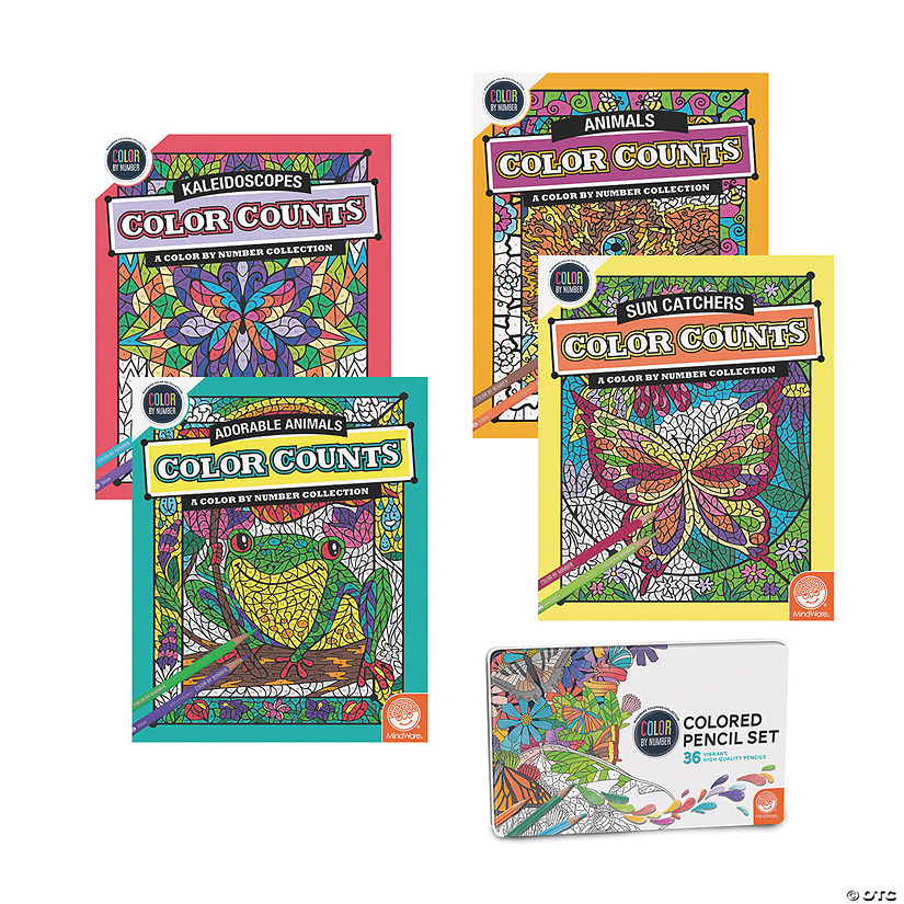 Color by Number Color Counts: Set of 4 with 36 Pencils Image Thumbnail