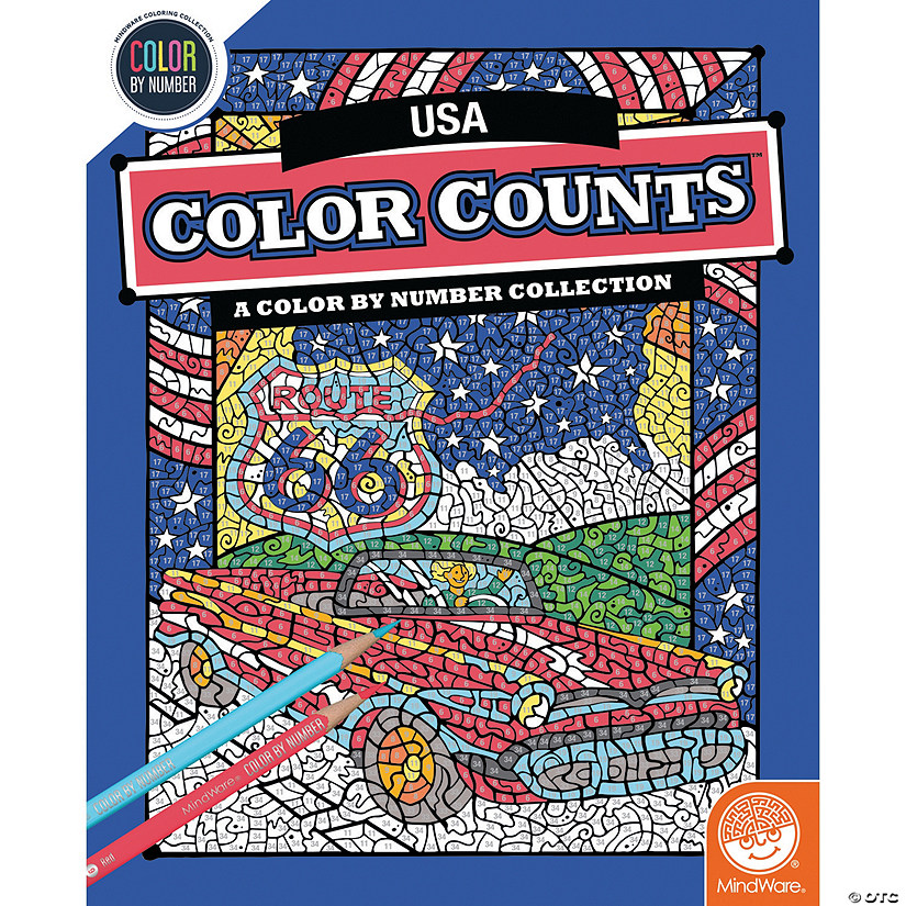 Color by Number Color Counts: Travel the USA