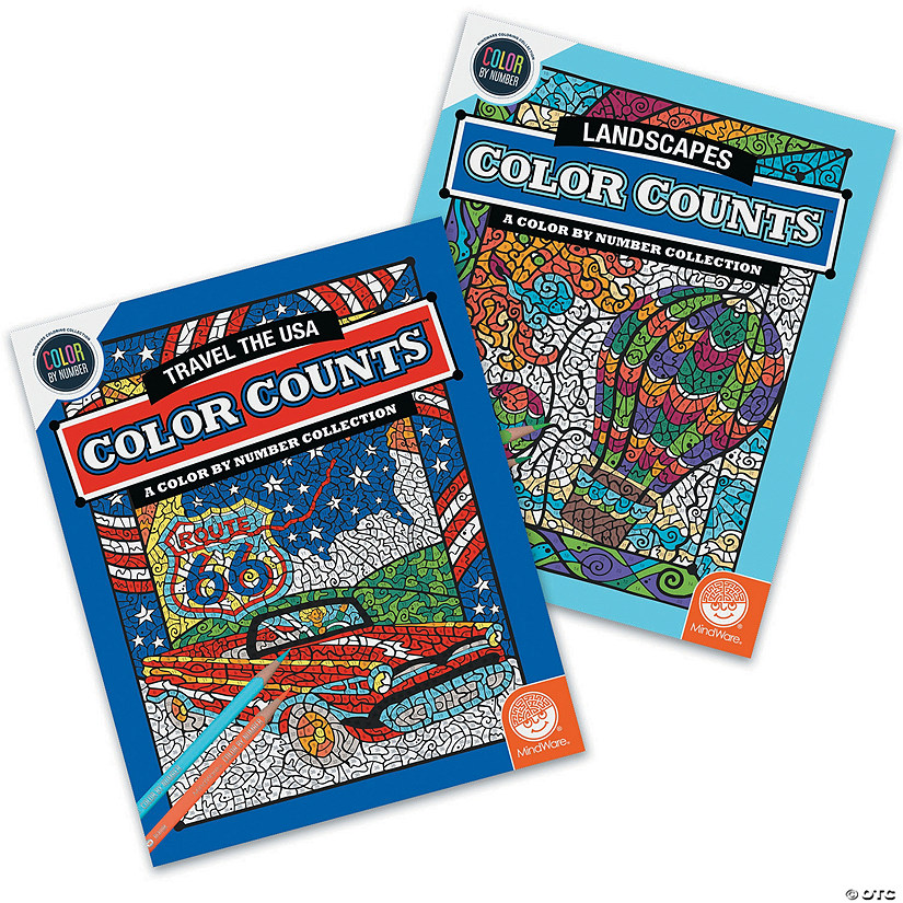 Color by Number Color Counts: USA and Landscapes Set of 2