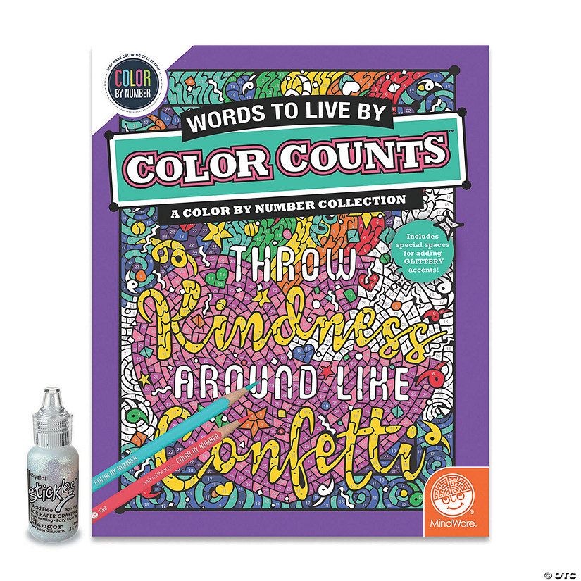 Color by Number Color Counts: Words To Live By with Glitter Image Thumbnail