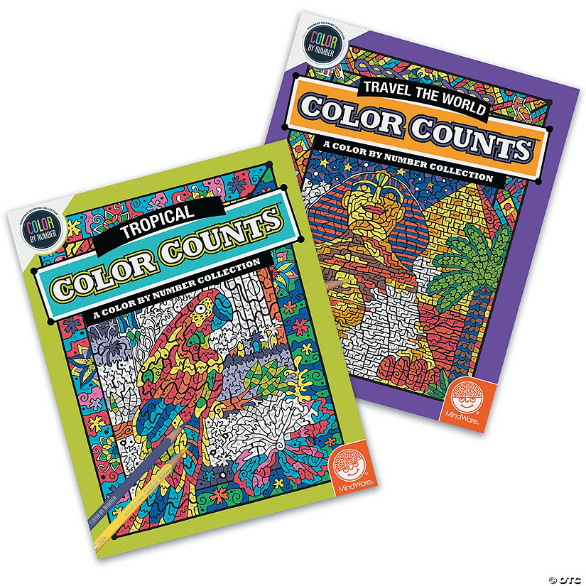 Color by Number Color Counts: World and Tropical Set of 2