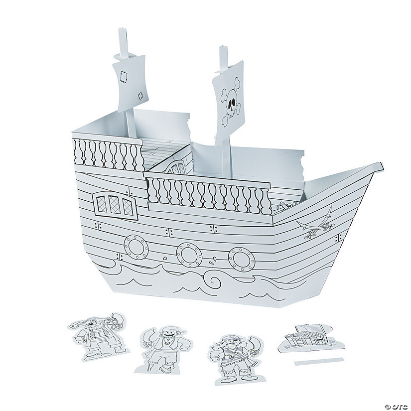 Color Your Own 3D Pirate Playset