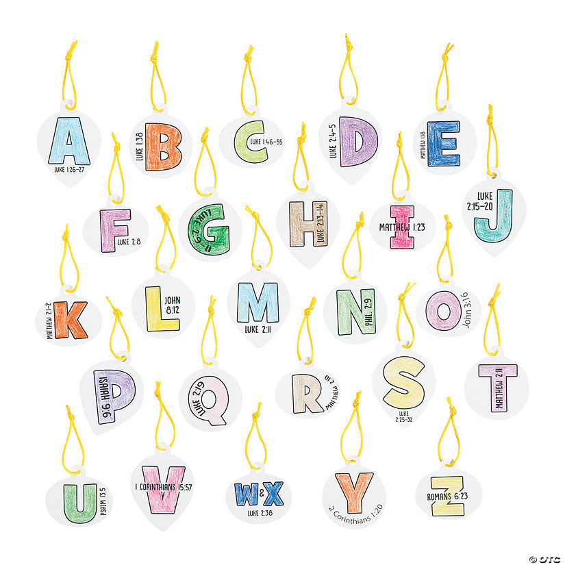 color your own advent alphabet ornaments