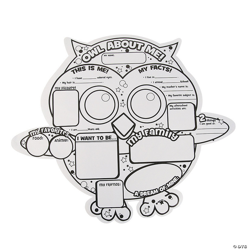 "Color Your Own ""All About Me"" Owl Posters Image Thumbnail"