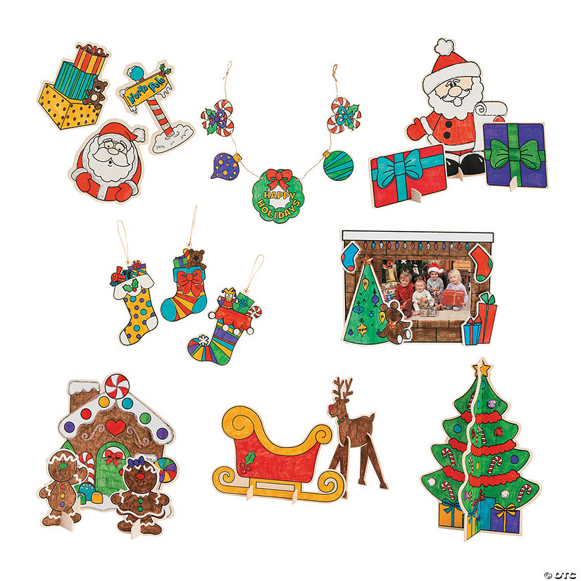 color your own christmas craft kit assortment
