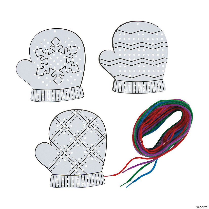 Color Your Own Cross Stitch Mitten Ornaments