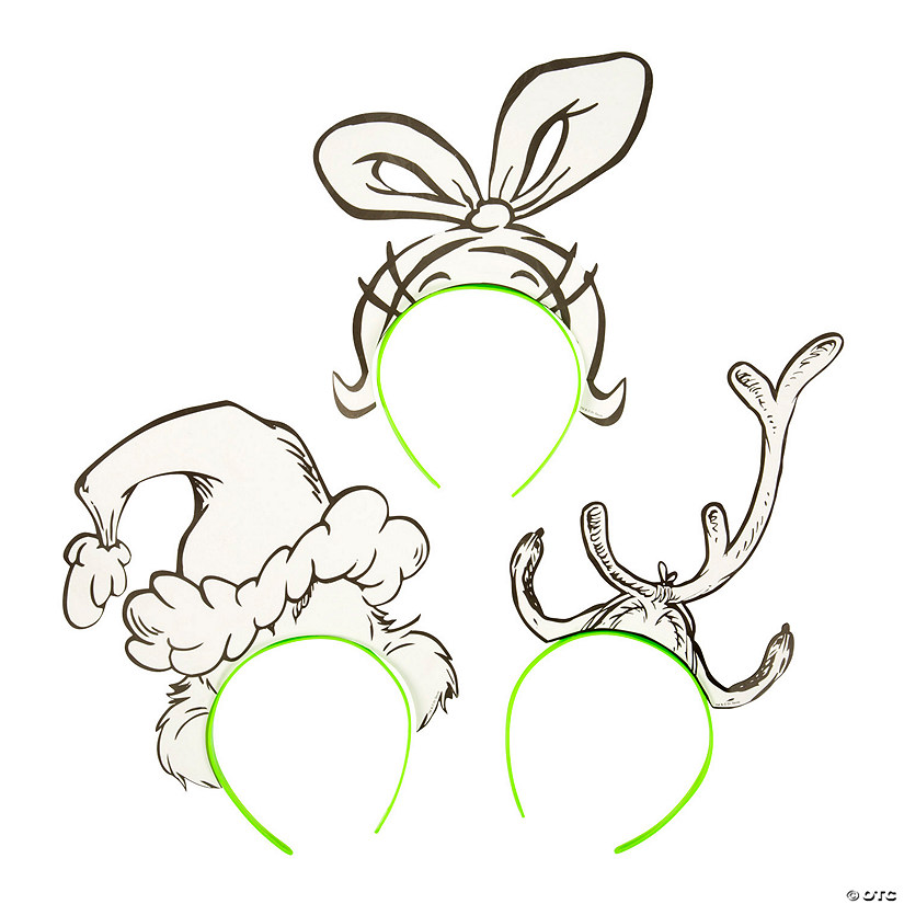 Color Your Own Dr. Seuss™ The Grinch Headbands Image Thumbnail